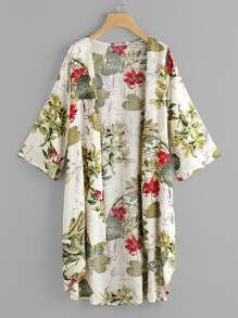 Kimono trapèze imprimé tropical