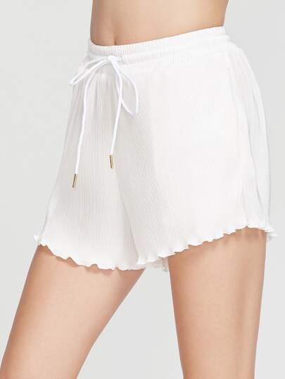 Lettuce Edge Hem Pleated Smocked Waist Shorts