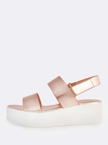 Flat Multi Band Velcro Ankle Strap Sandals ROSE GOLD