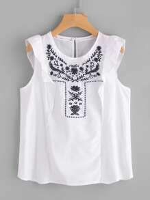 Frill Trim Embroidered Sleeveless Top