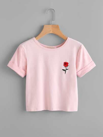 Rose Embroidered Cuffed Tee