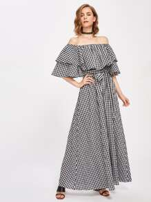 Flounce Off Shoulder Self Tie Gingham Dress