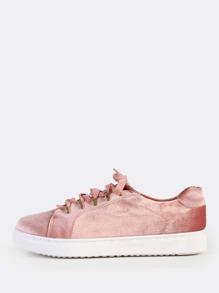 Lace Up Velvet Sneakers MAUVE