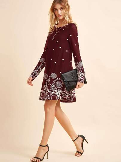 Romwe / Retro Circle & Polka Dot Print Tunic Dress