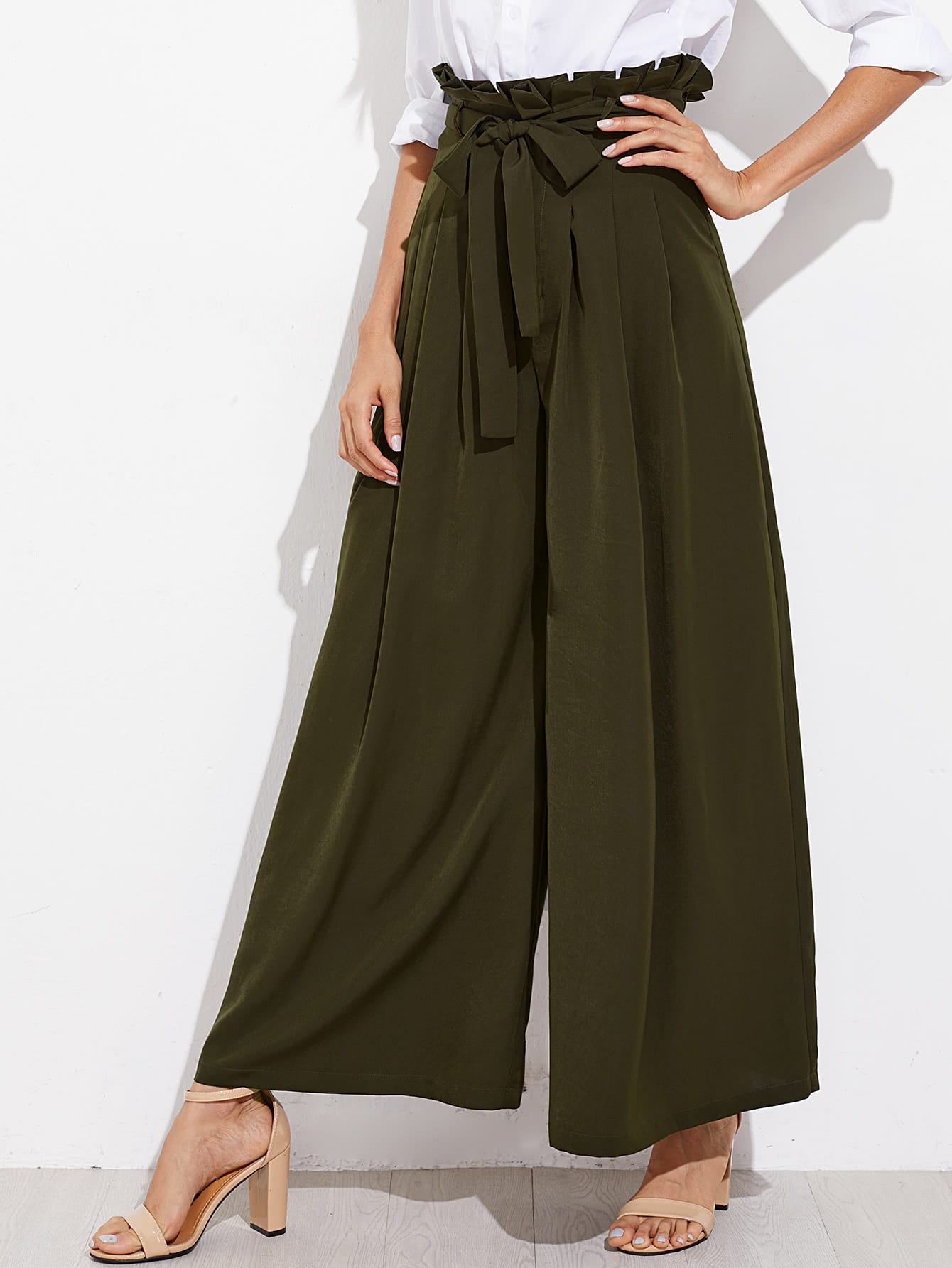 Image of Belted Box Pleated Palazzo Pants