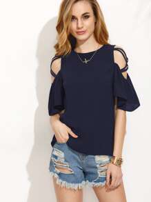 Crisscross Open Shoulder Ruffle Sleeve Button Keyhole Back Top