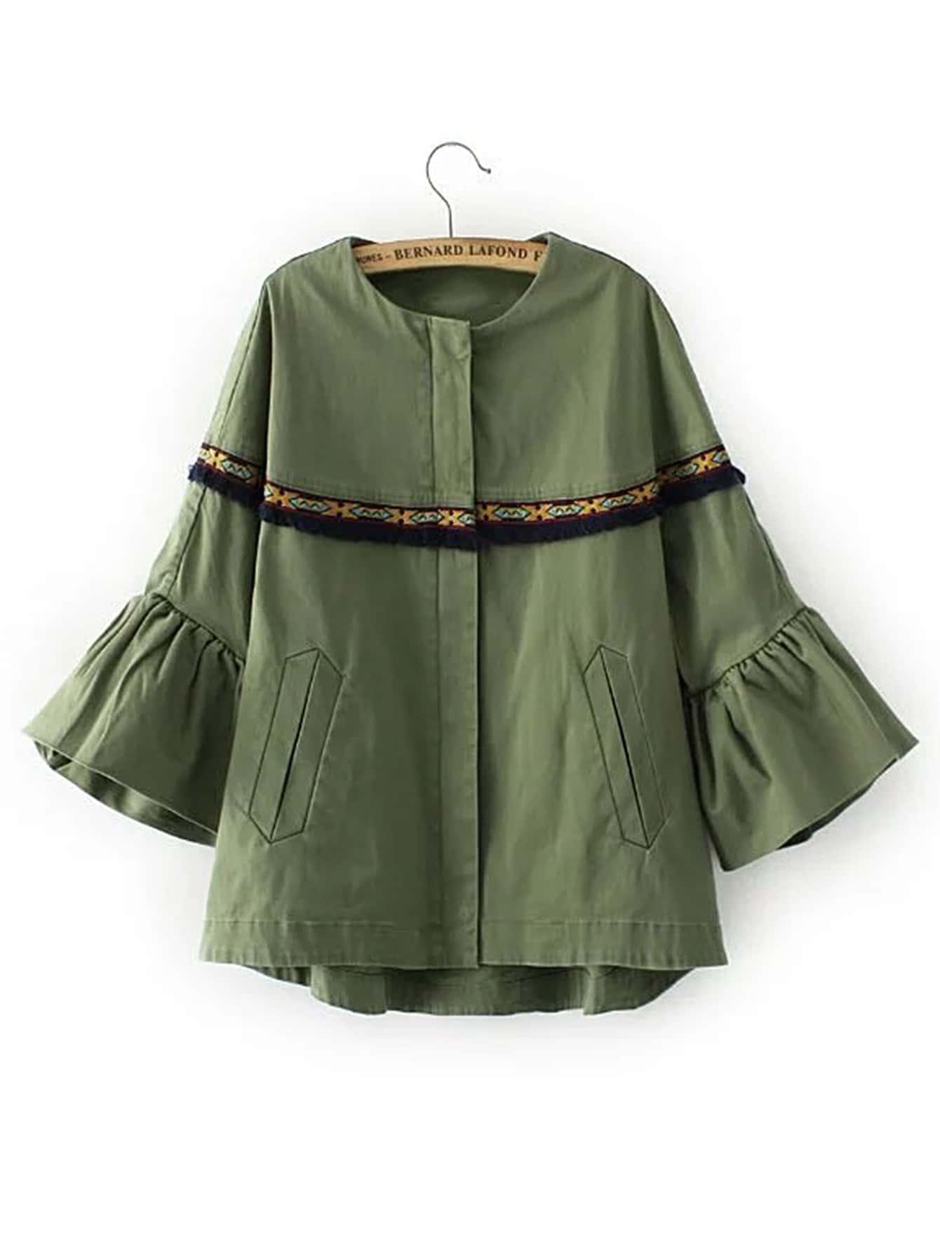 Bell sleeve fringe trim embroidery jacket shein sheinside