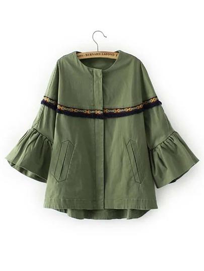 Bell Sleeve Fringe Trim Embroidery Jacket