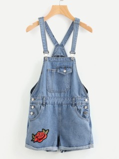 Embroidered Applique Cuffed Denim Short Dungaree