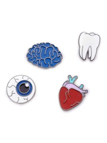 Multi Shaped Brooch Set 4pcs
