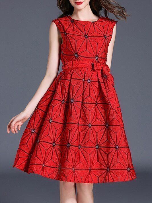 Фото Color Block Jacquard A-Line Dress. Купить с доставкой
