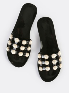Embellished Pearl Jelly Slides NUDE