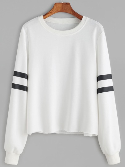Striped Sleeve Raw Hem Sweatshirt