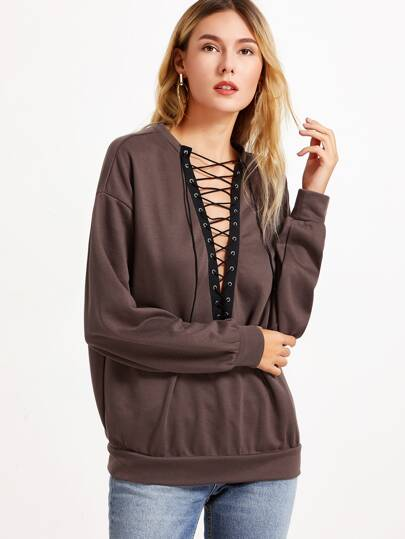 Brown Eyelet Lace Up V Neck Oversized Sweatshirt