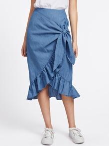 Flounce Hem Knotted Overlap Chambray Skirt