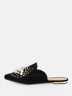 Studded Pearl Velvet Loafers BLACK
