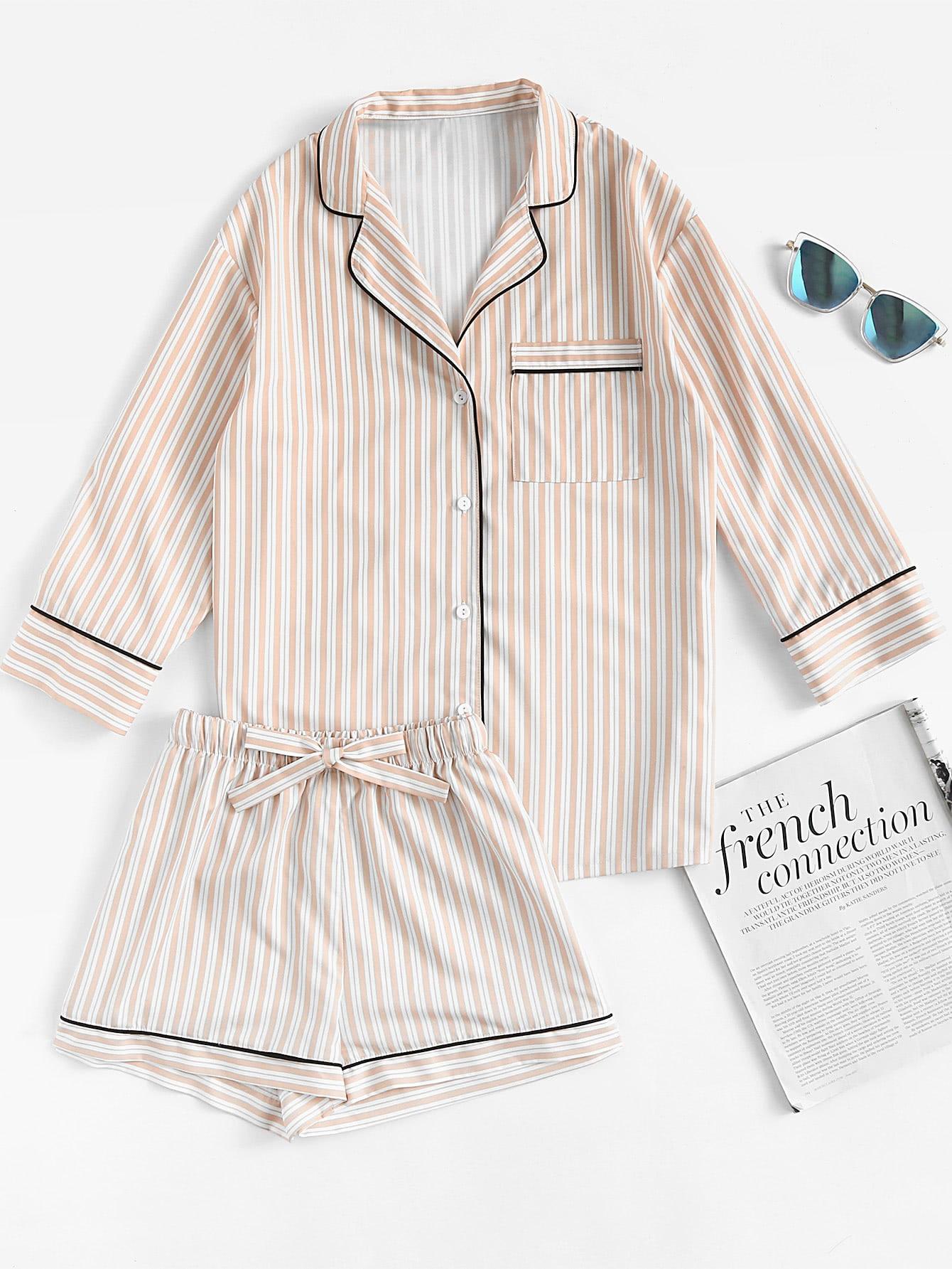 Фото Contrast Piping Striped Shirt & Shorts Pajama Set. Купить с доставкой