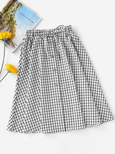 Checked Button Front Drawstring Waist Skirt