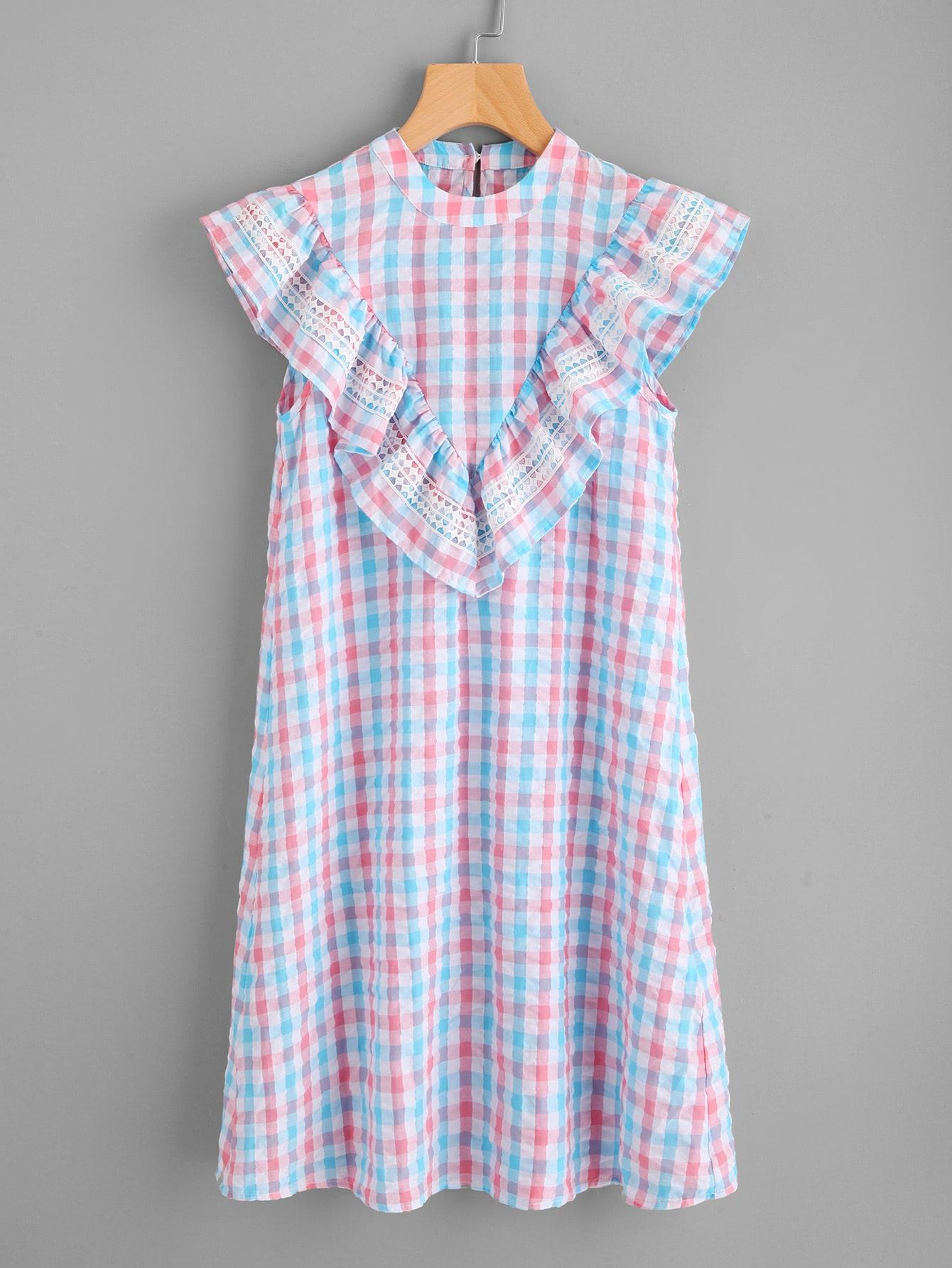 Фото Lace Applique Frill Trim Checkered Dress. Купить с доставкой