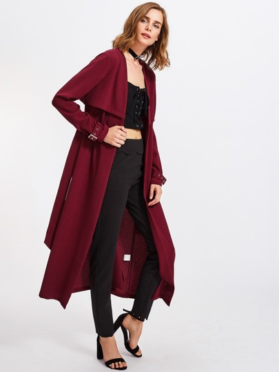 Buckle Belted Waist And Cuff Layered Coat