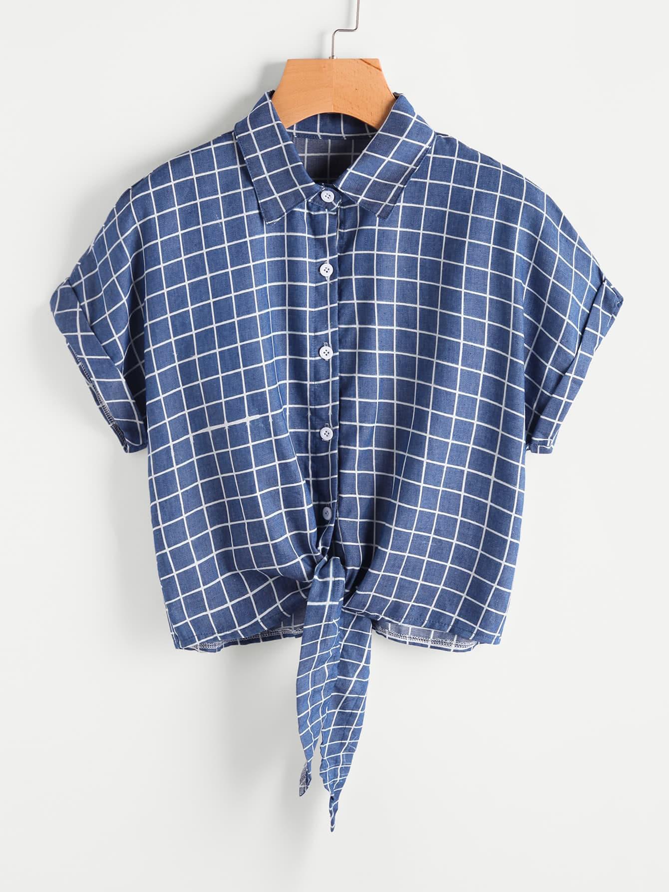 Фото Windowpane Print Rolled Cuff Tie Front Blouse. Купить с доставкой