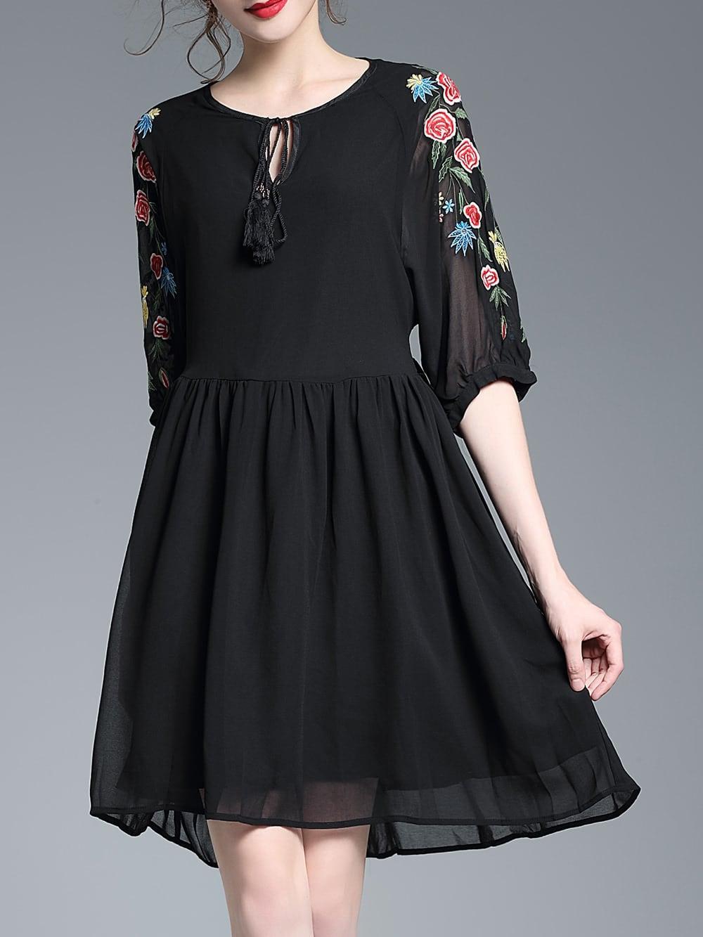 Фото Tie Neck Flowers Embroidered Dress. Купить с доставкой