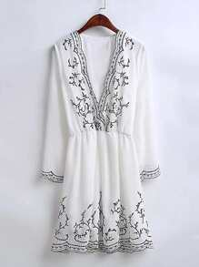 Plunging V-Neckline Embroidery Dress