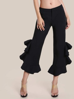 High Rise Ruffle Hem Dress Pants BLACK