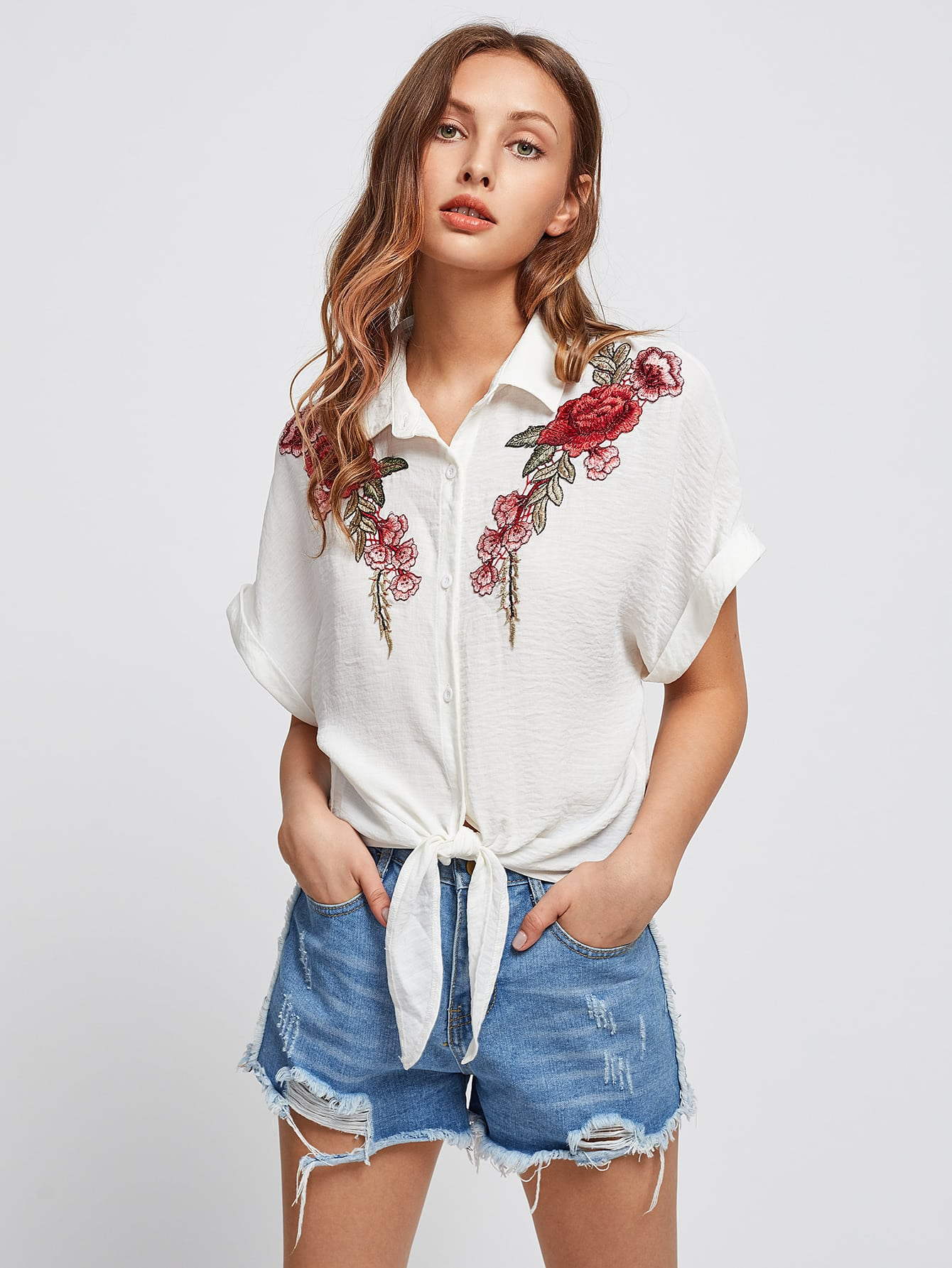 Embroidered flower patch tie front blouse makemechic
