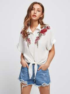 Embroidered Flower Patch Tie Front Blouse