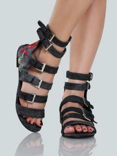 Embroidered Denim Buckle Sandals BLACK