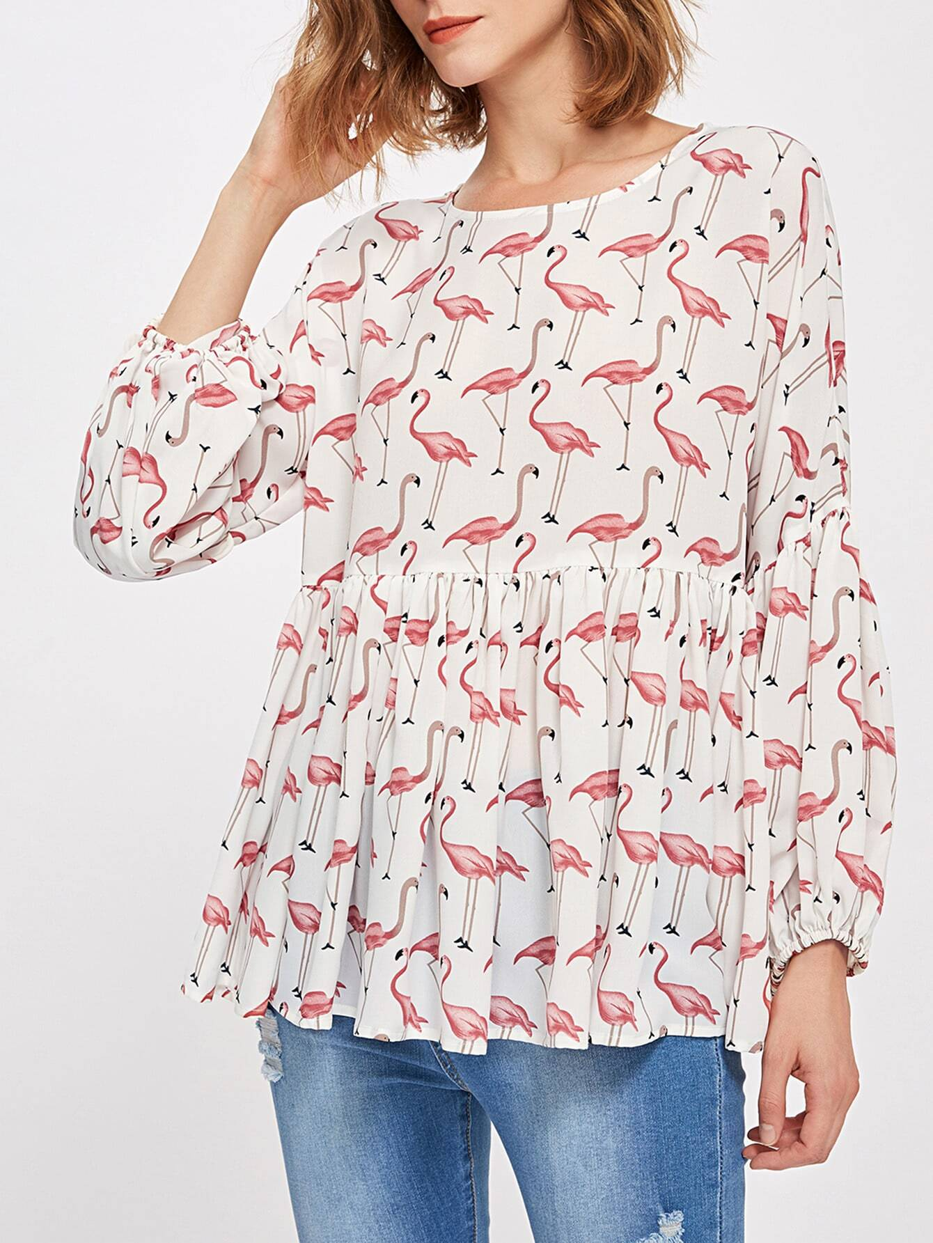 Allover Flamingo Print Lantern Sleeve Smock Blouse revere collar allover flamingo print blouse