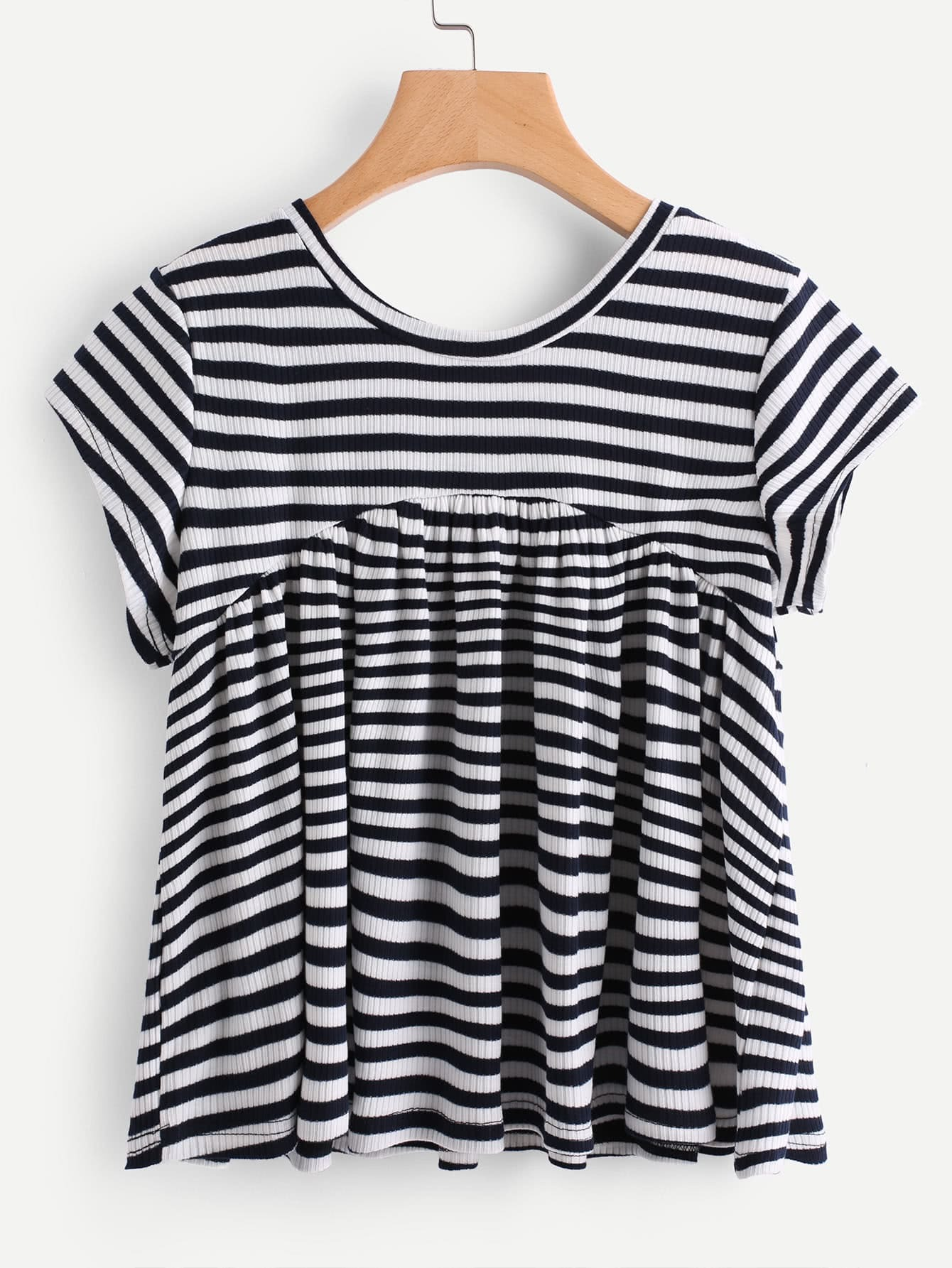 Contrast Striped Ribbed T-shirt tee170720105