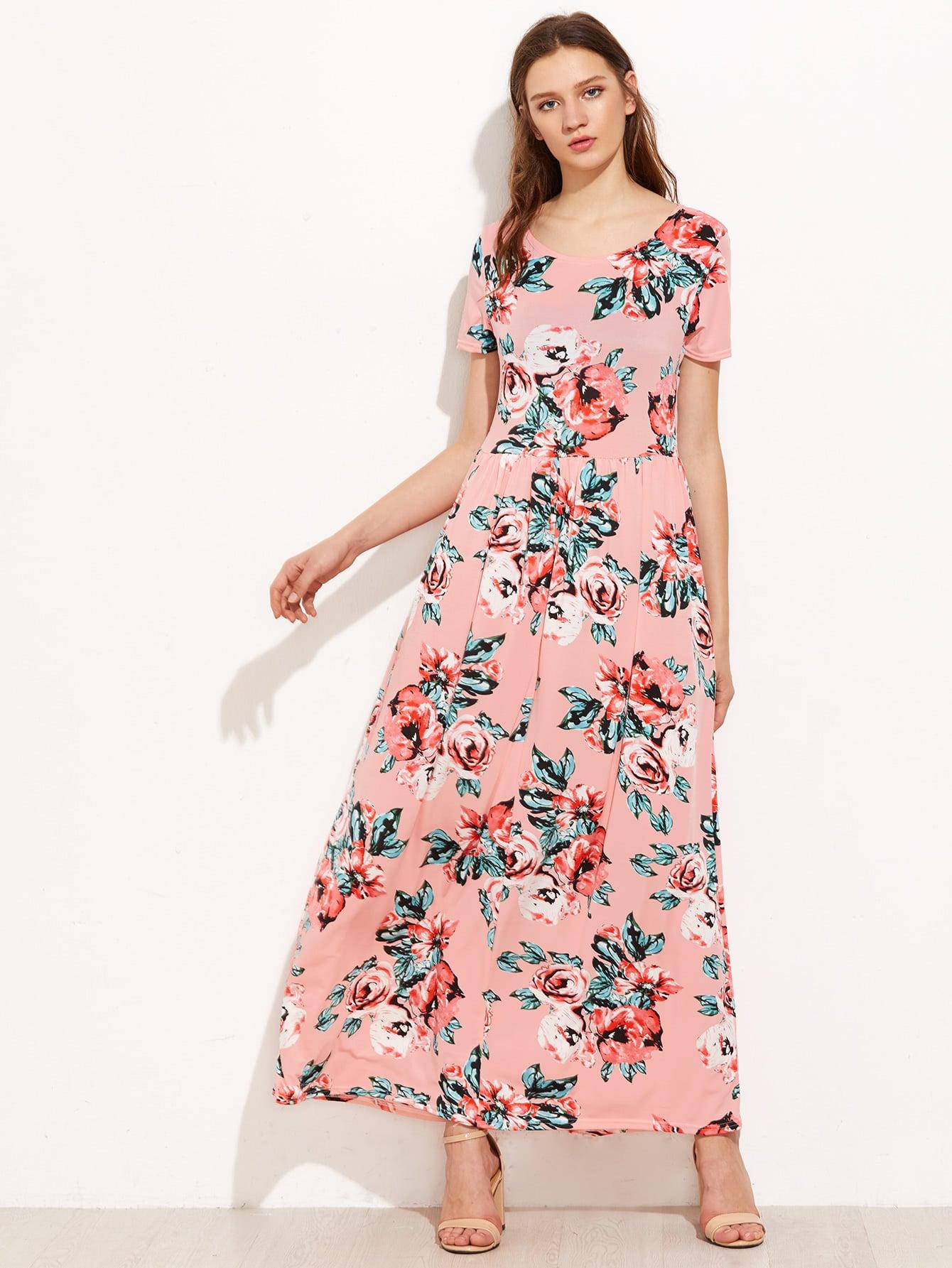 Фото Rose Print High Rise  Full Length Dress. Купить с доставкой