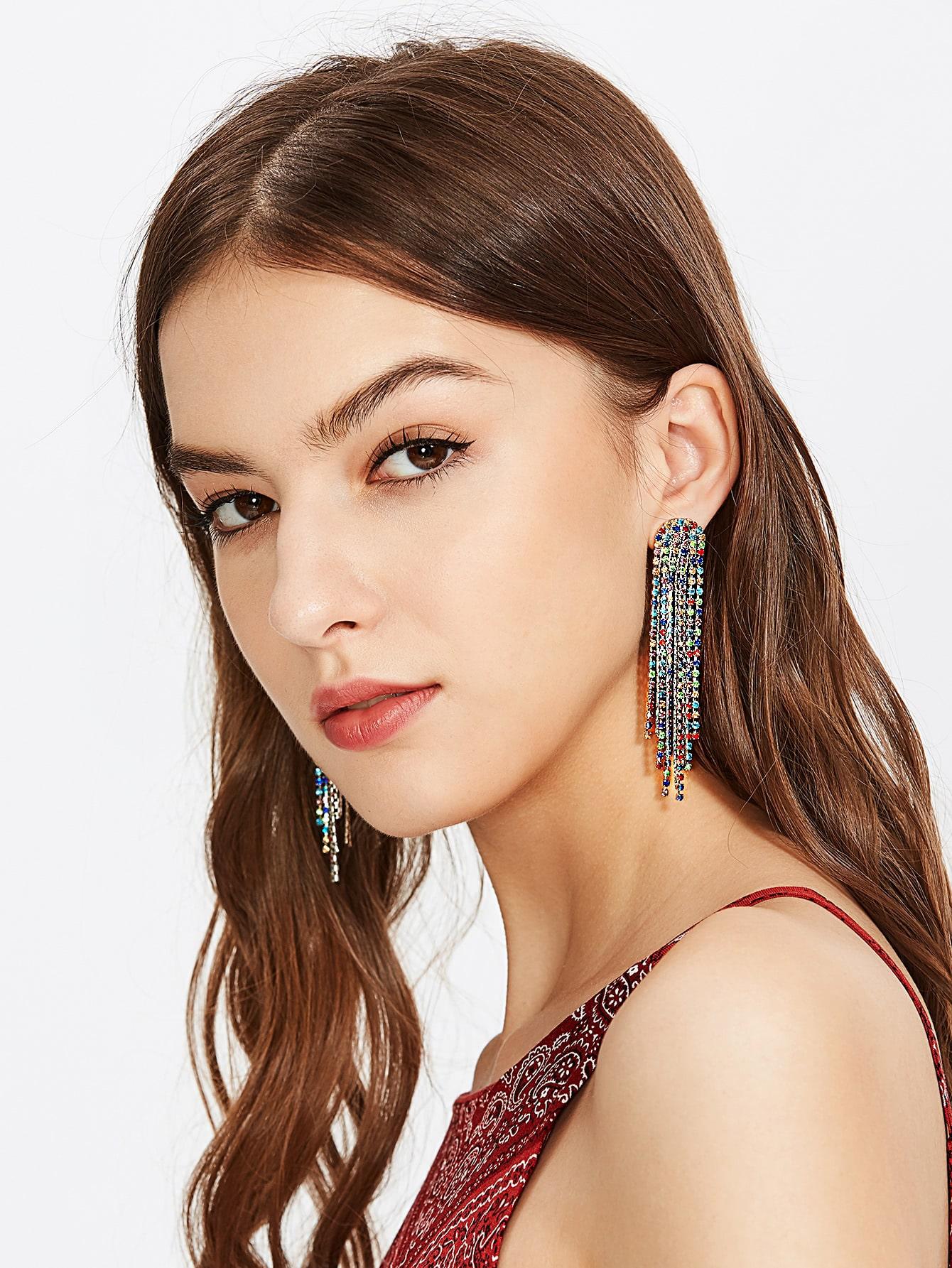 Фото Glamorous Rhinestone Detail Tassel Chain Earrings. Купить с доставкой