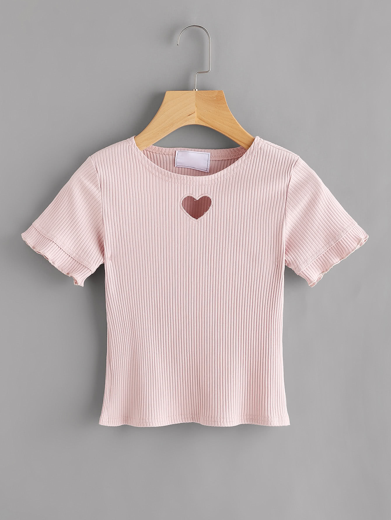 Heart Cut Out Ribbed Tee RTSH170731002