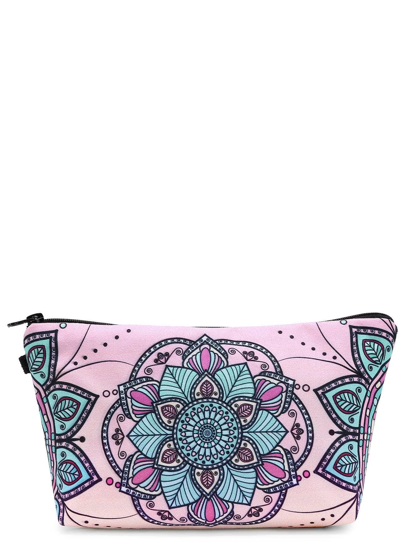 Фото Symmetrical Flower Print Makeup Bag. Купить с доставкой