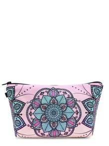 Symmetrical Flower Print Makeup Bag