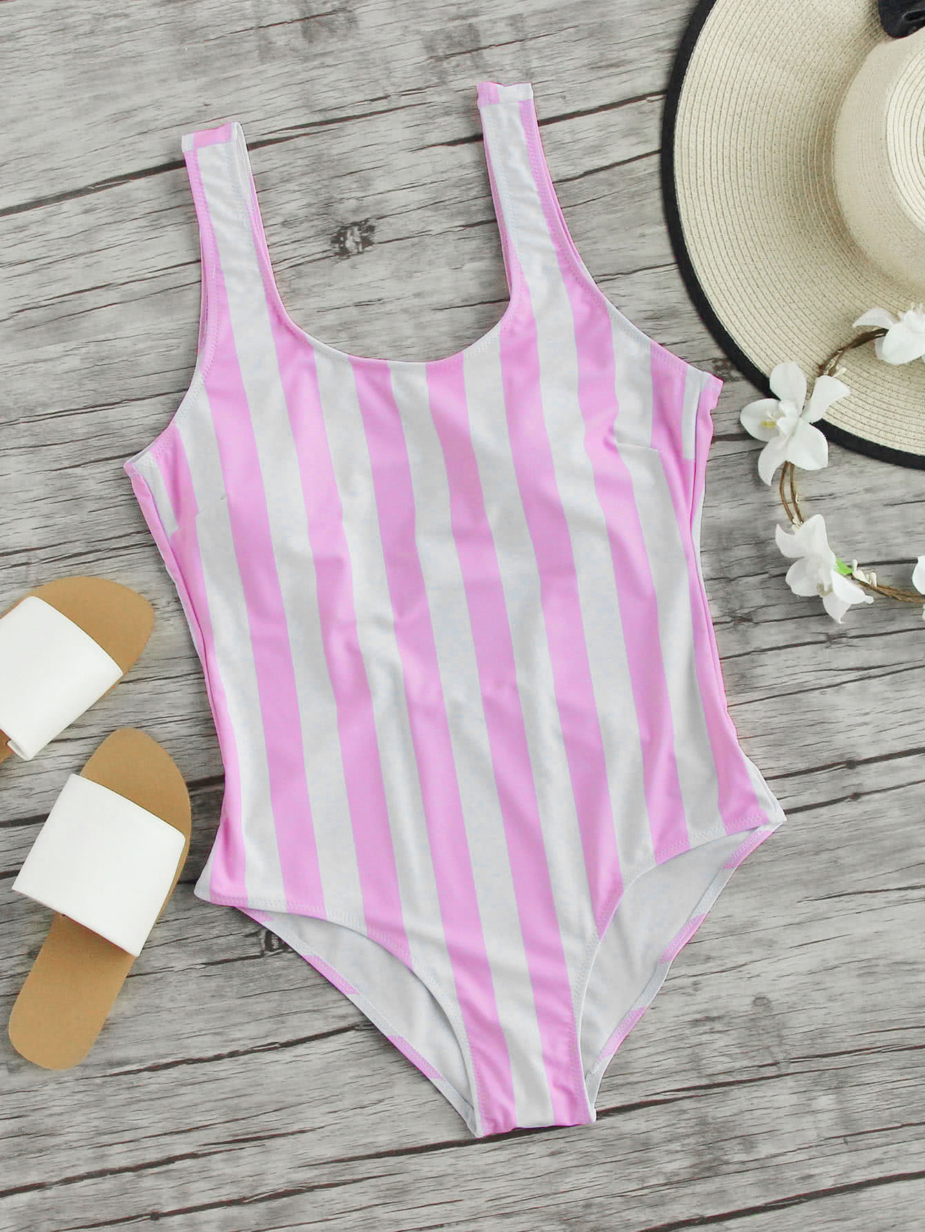 Vertical Strap Low Back Swimsuit