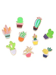 Cactus & Flower Design Brooch Set