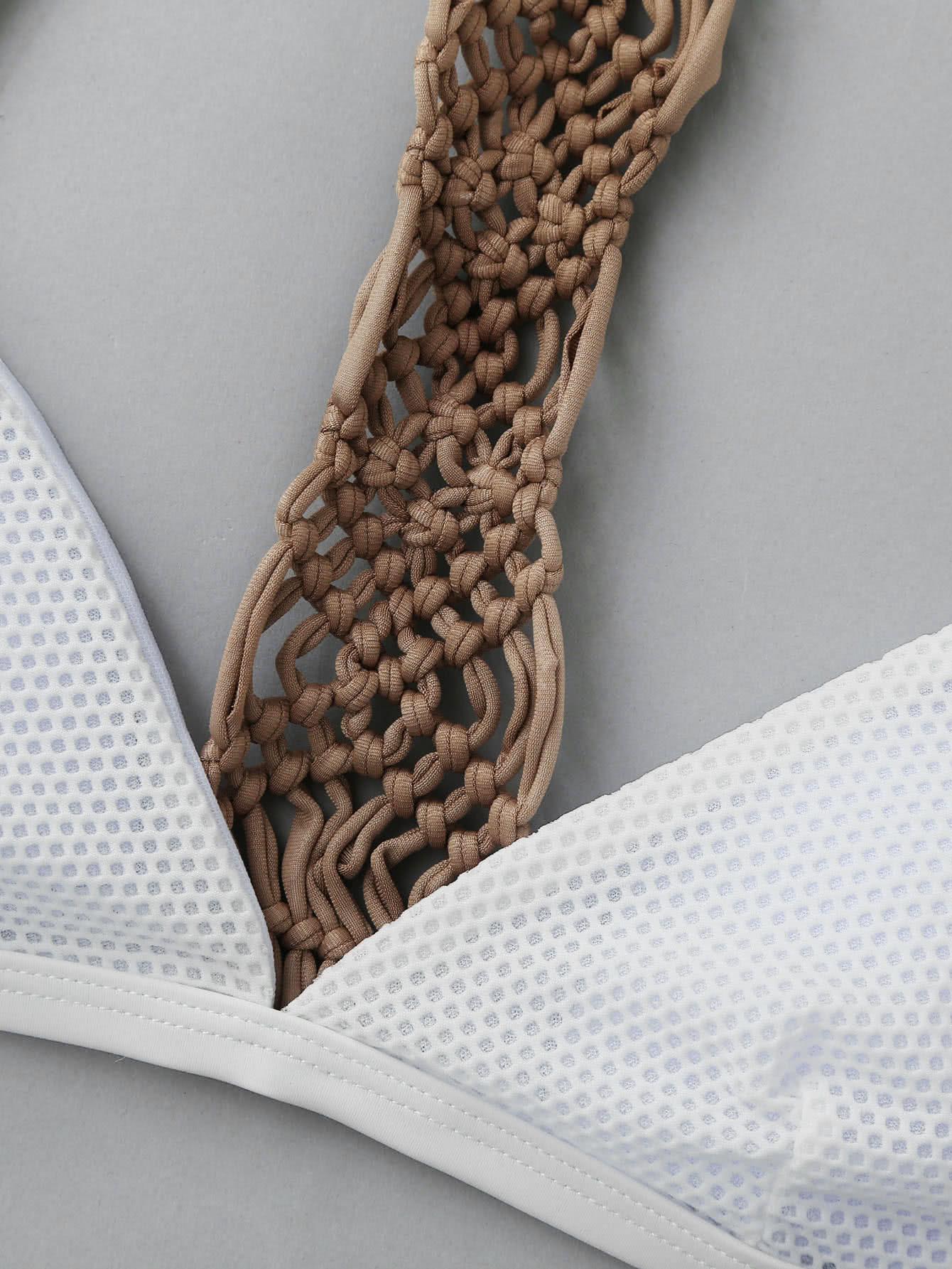 Woven Detail Racerback Triangle Bikini Set