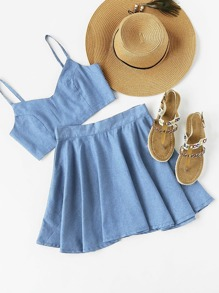 Crop Chambray Cami Top And Skirt Set