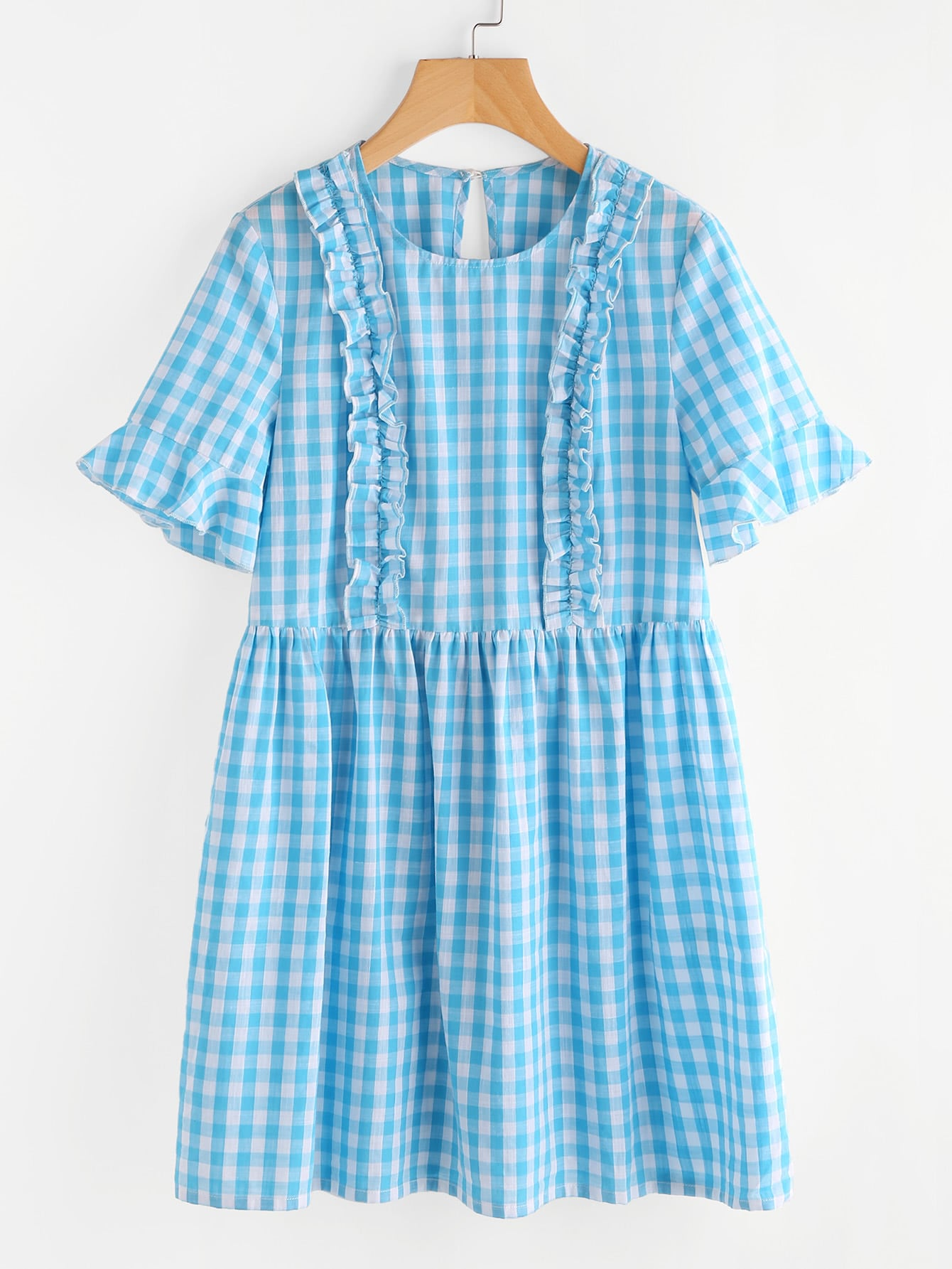 Фото Trumpet Sleeve Frill Trim Checkered Smock Dress. Купить с доставкой