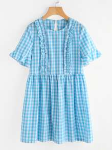 Trumpet Sleeve Frill Trim Checkered Smock Dress
