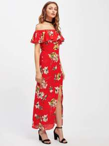 Florals Flounce Layered Neckline Split Dress