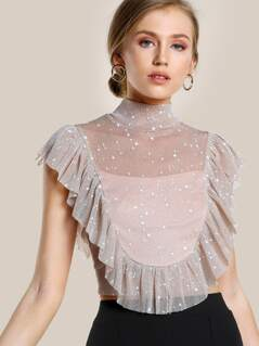 Star Print Ruffled Open Back Top BLUSH