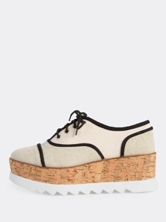 Oxford Style Lace Up Flatform Sneakers BEIGE