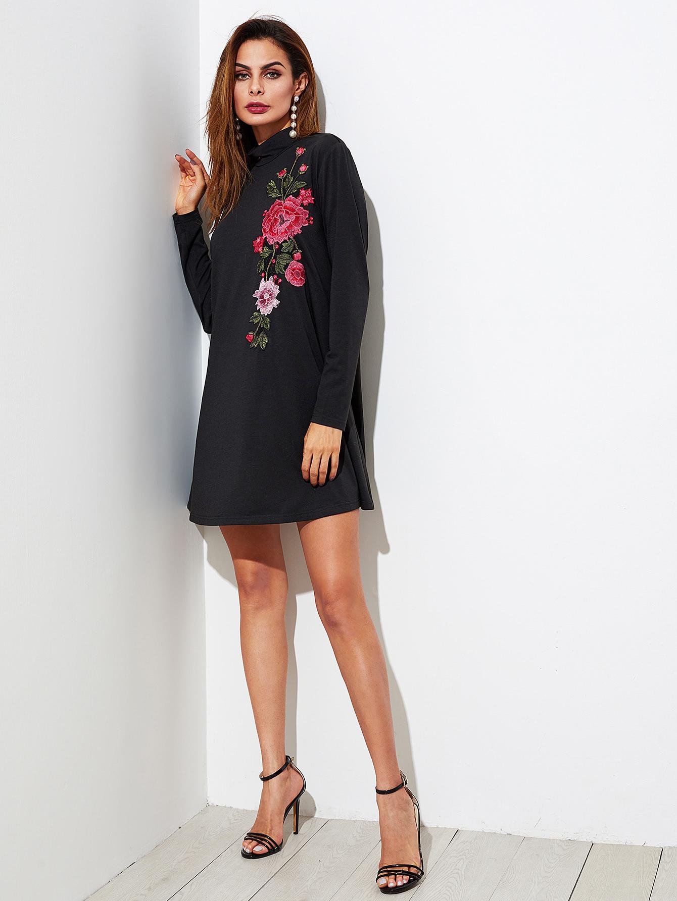 vestido camisero con parche de bordado de flor