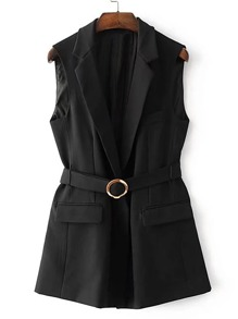 Flap Pocket Self Tie Vest With Ring Detail