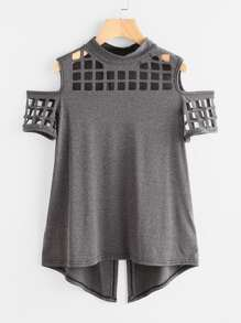 Laser Cut Open Shoulder Overlap Back Marled Tee